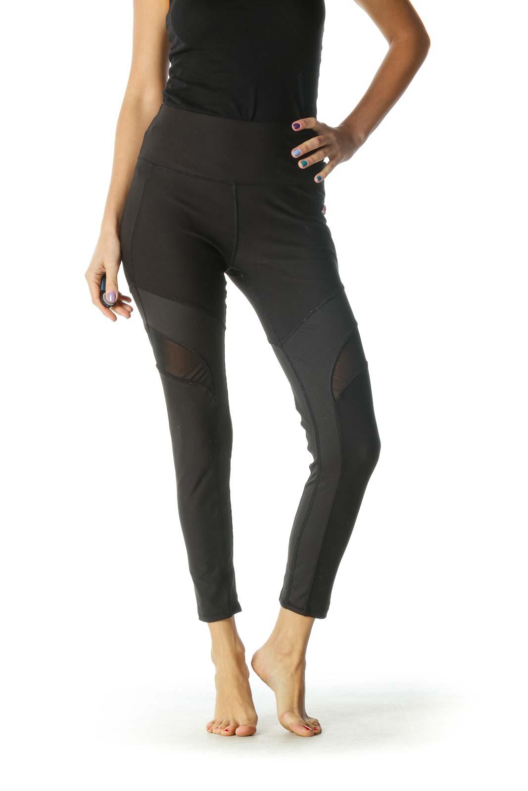 Black Mesh Paneled Leggings Front