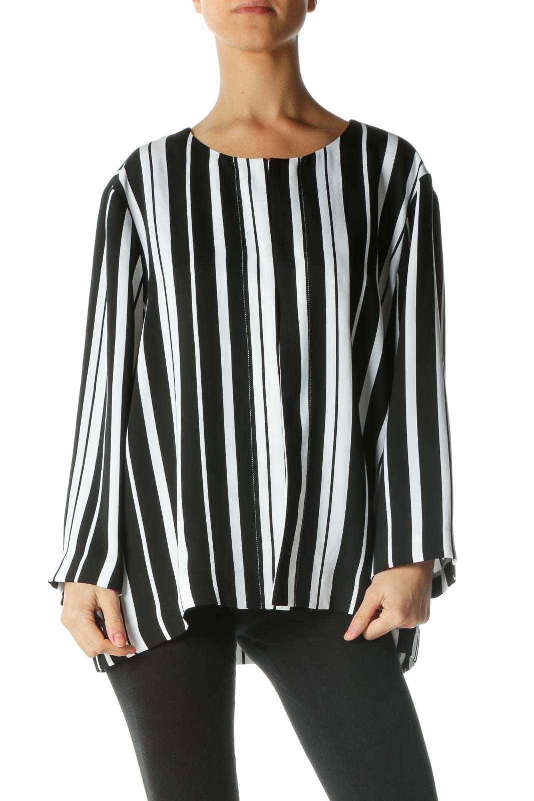 Black White Striped Jacket Front