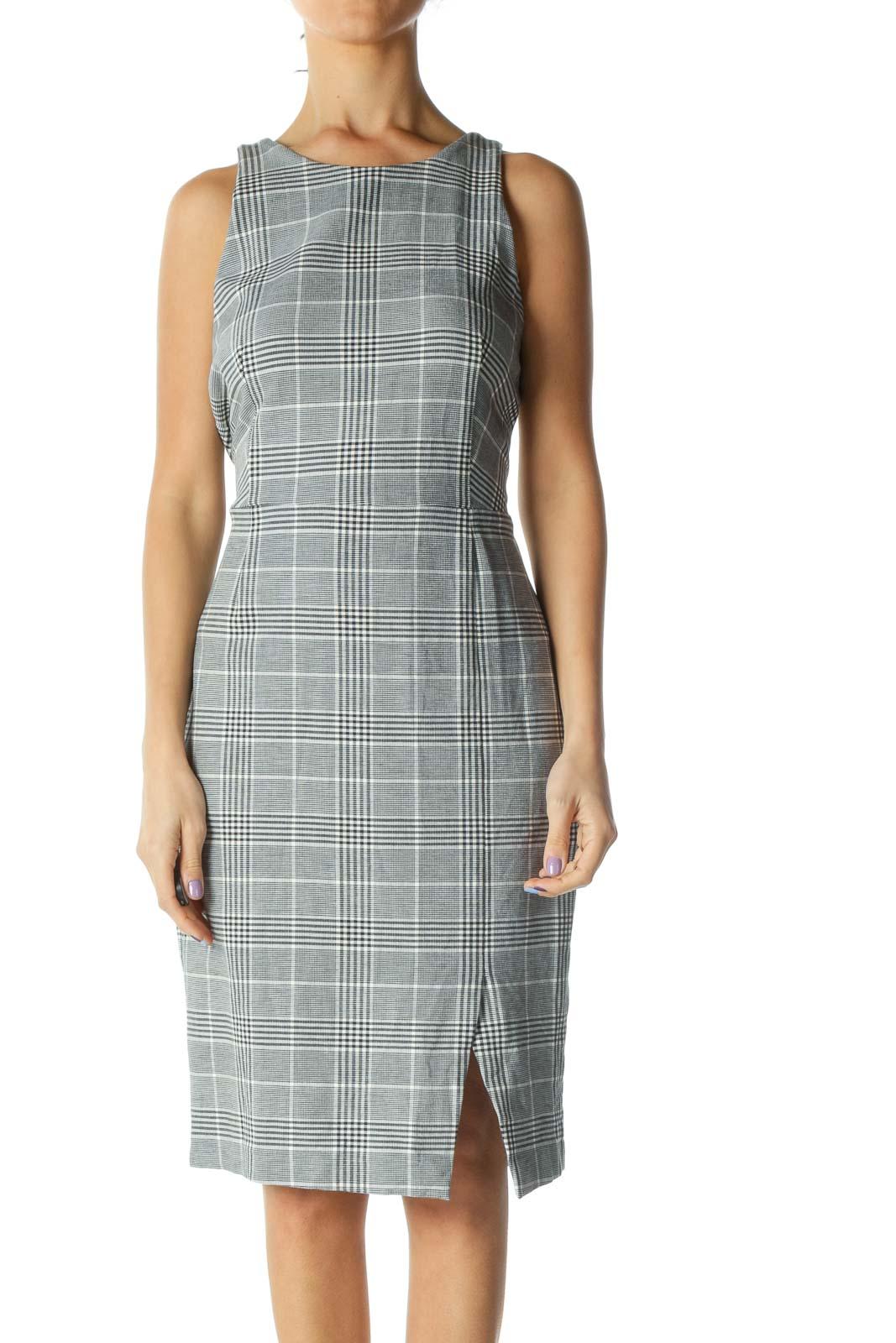 Gray Plaid Work Dress Front