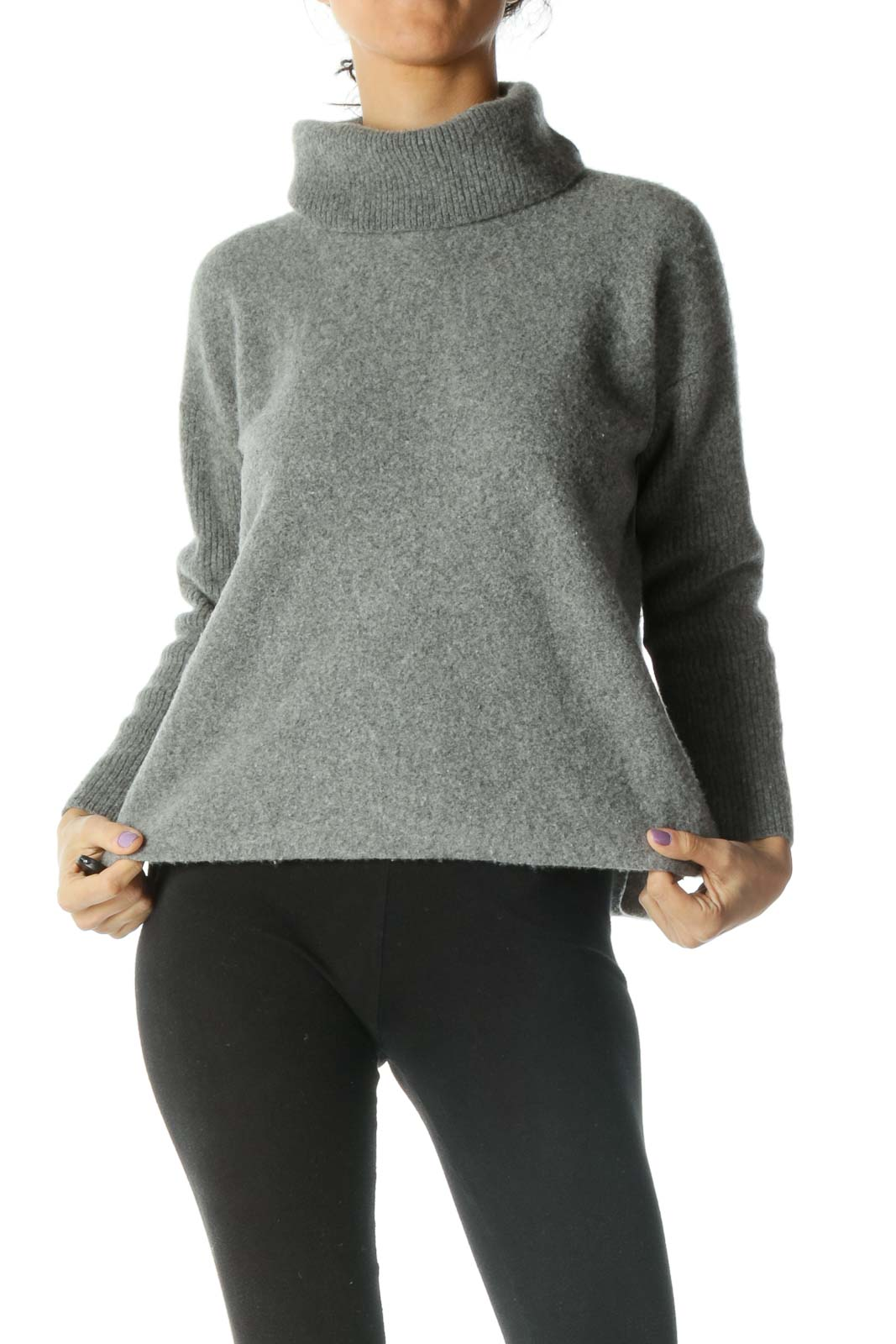 Gray Turtle Neck Sweater Front