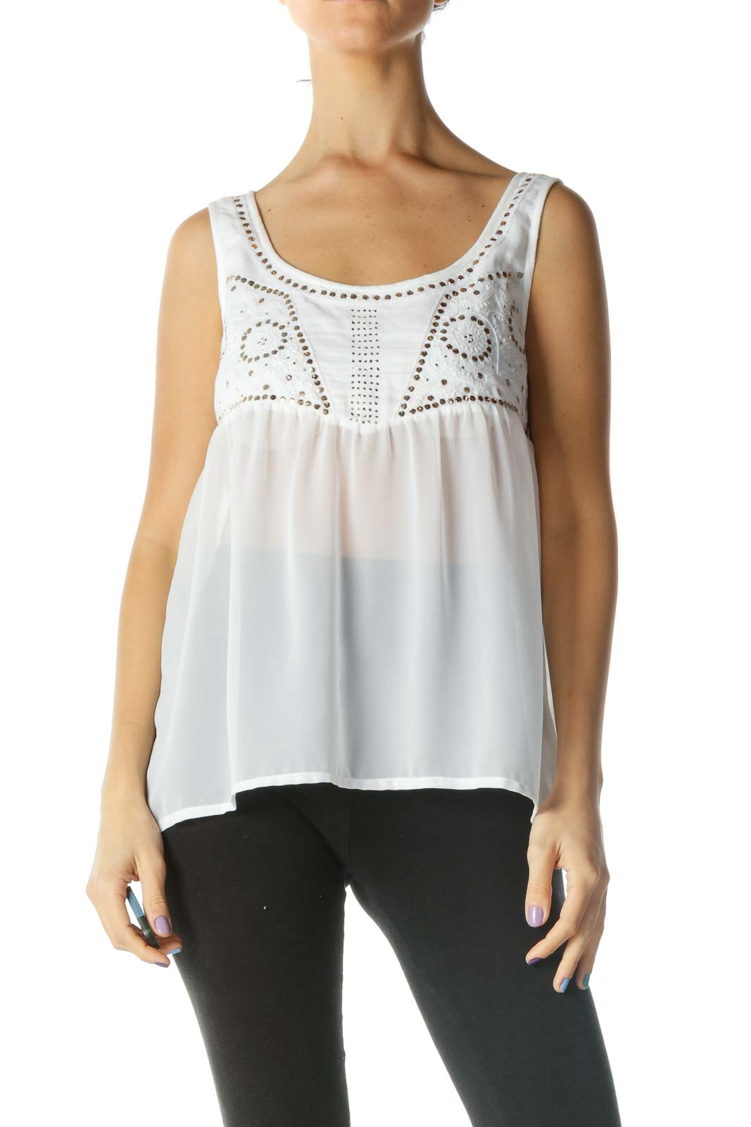 White Sheer Sequined Top Front