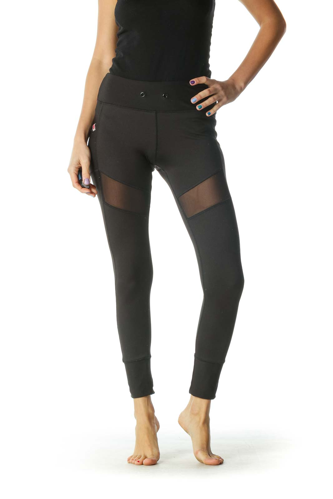 Black Paneled Leggings Front