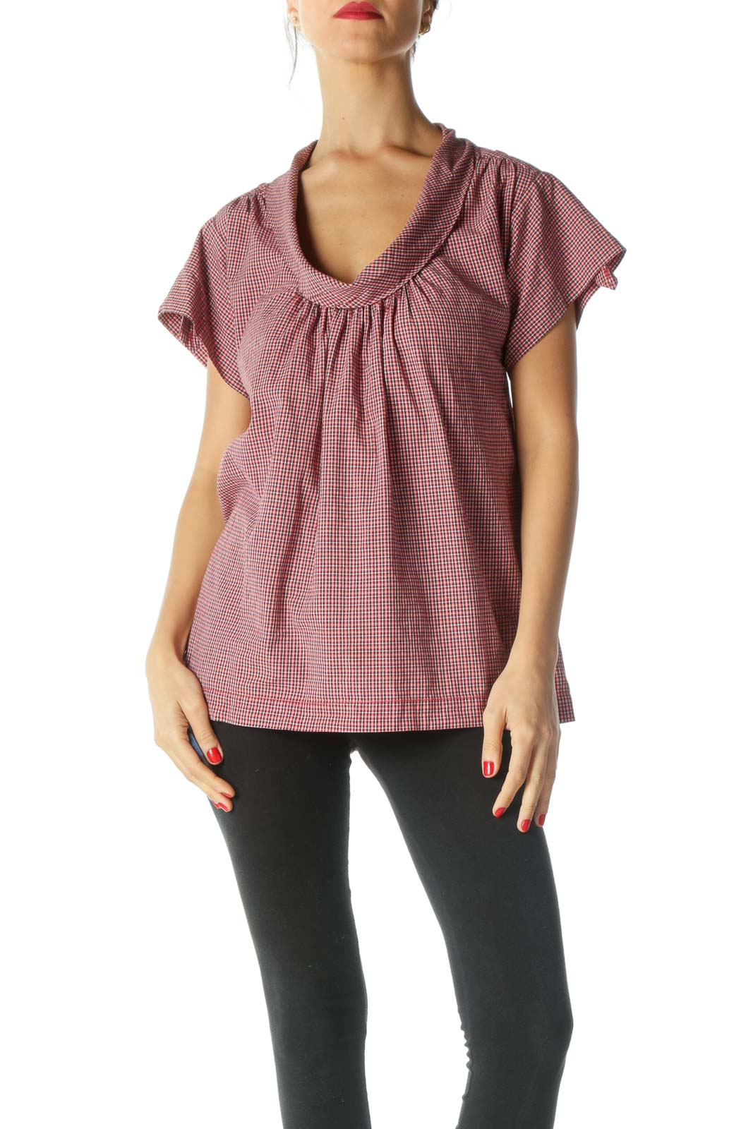 Red Checkered Pleated Top Front