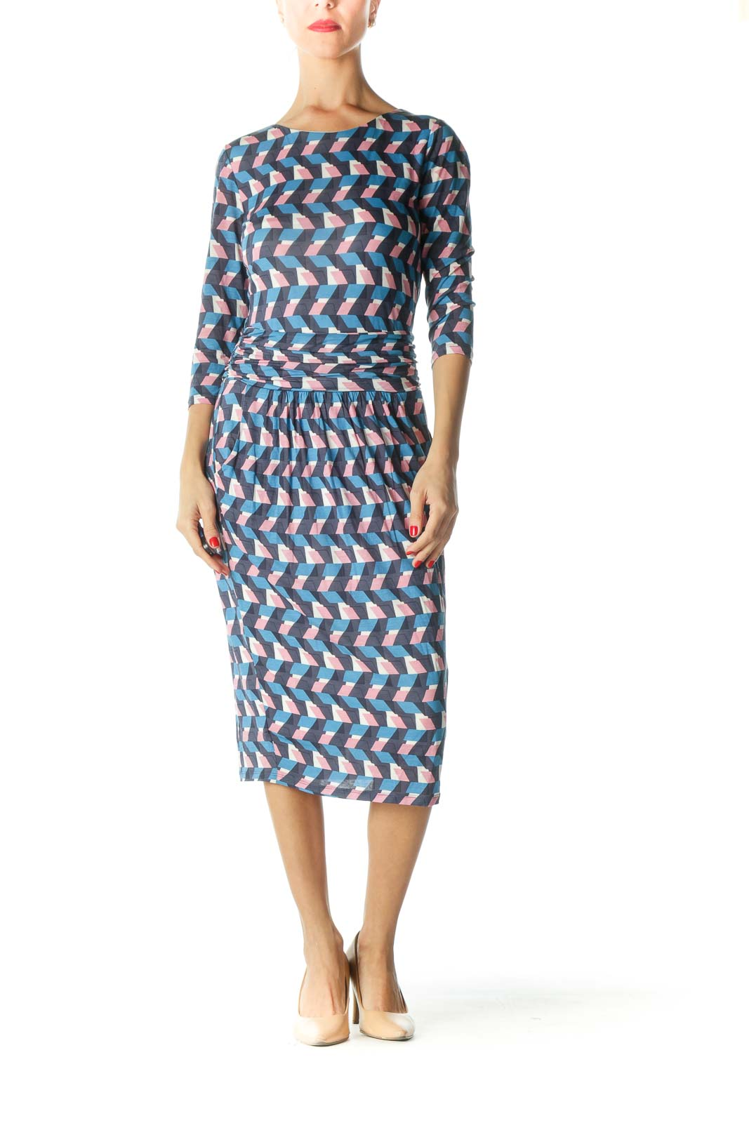 Blue Pink White 3/4 Sleeve Print Day Dress Front