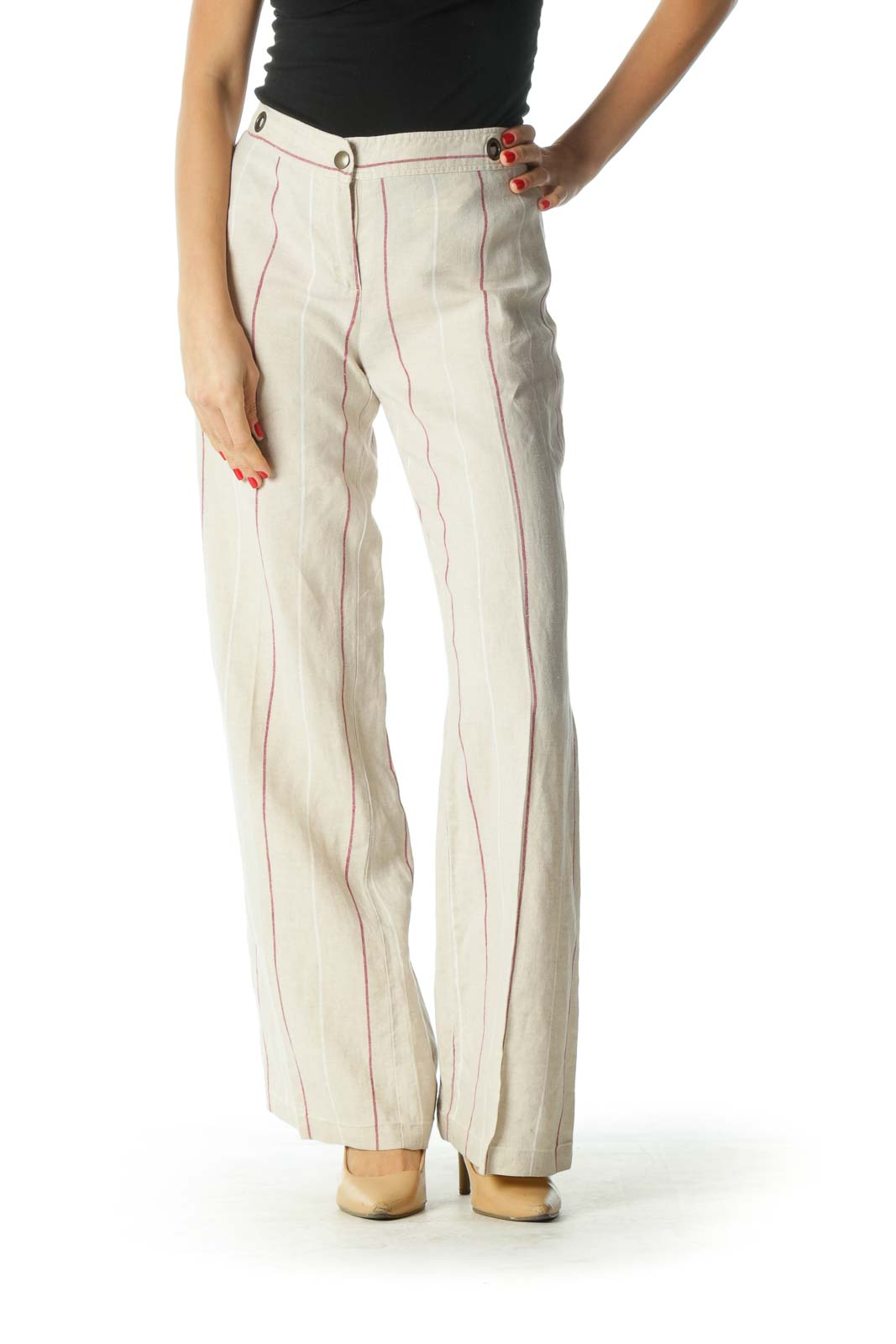 Cream and Burgundy Striped Wide Leg Pants Front