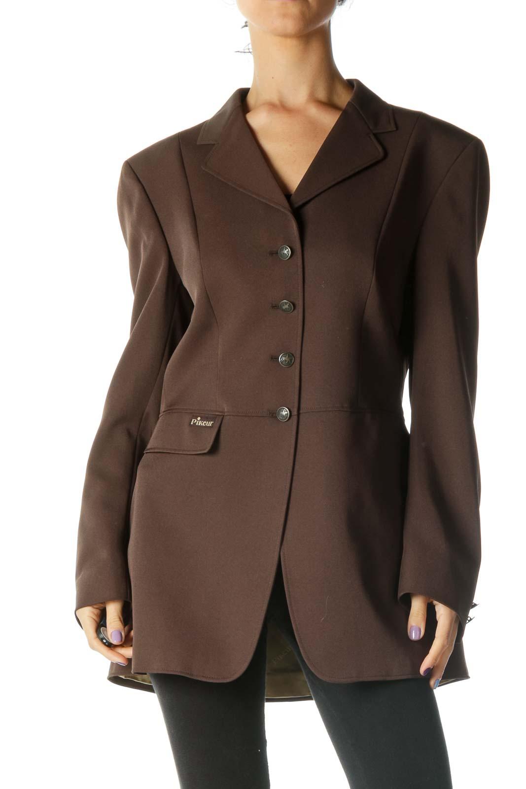 Brown Structured Blazer Front