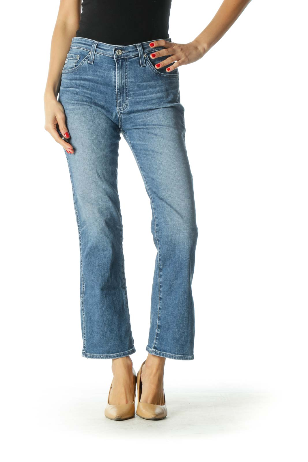 Blue High-Rise Slim Fit Flare Cropped Jeans Front