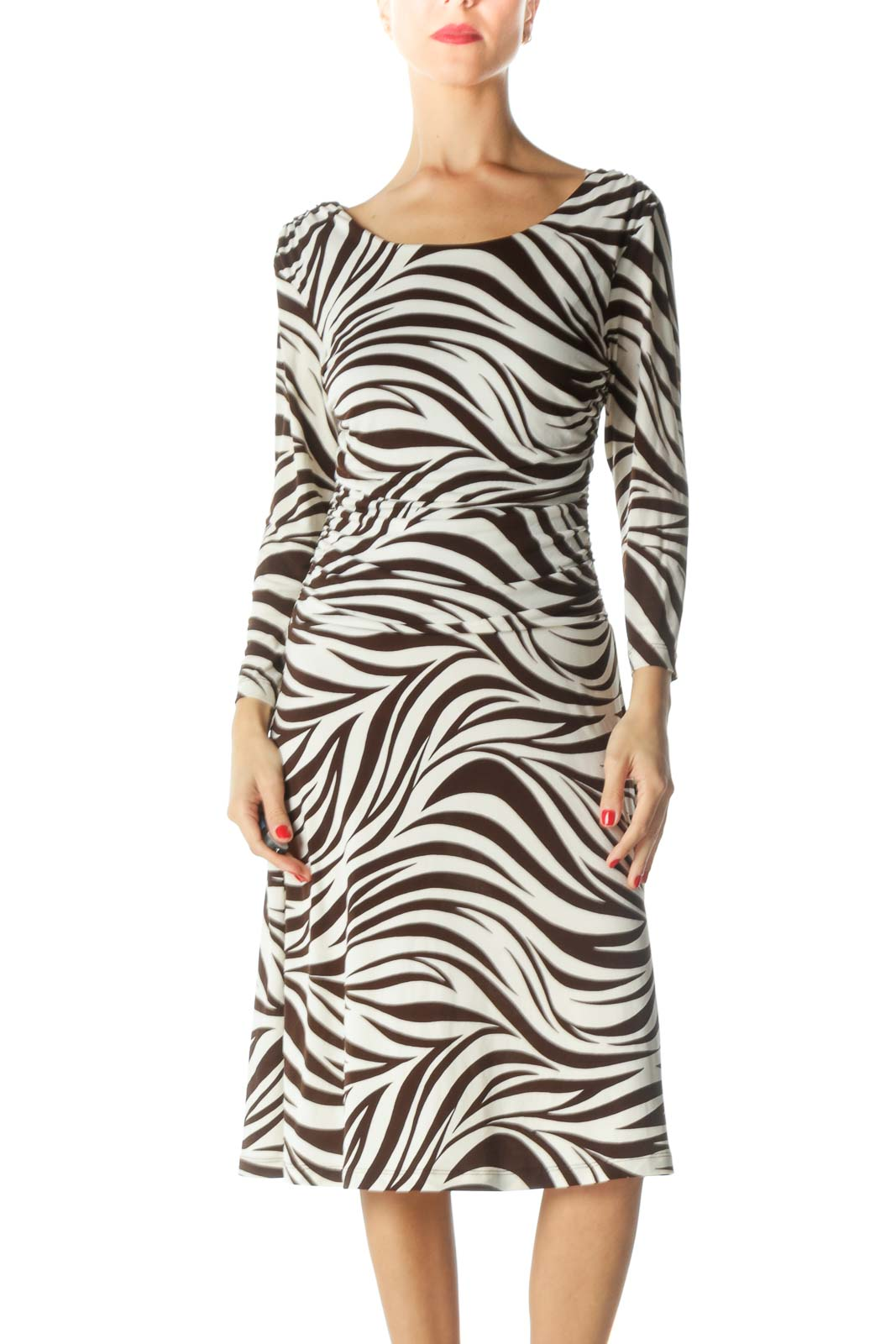 Brown Cream Boat Neck Zebra Print Dress Front