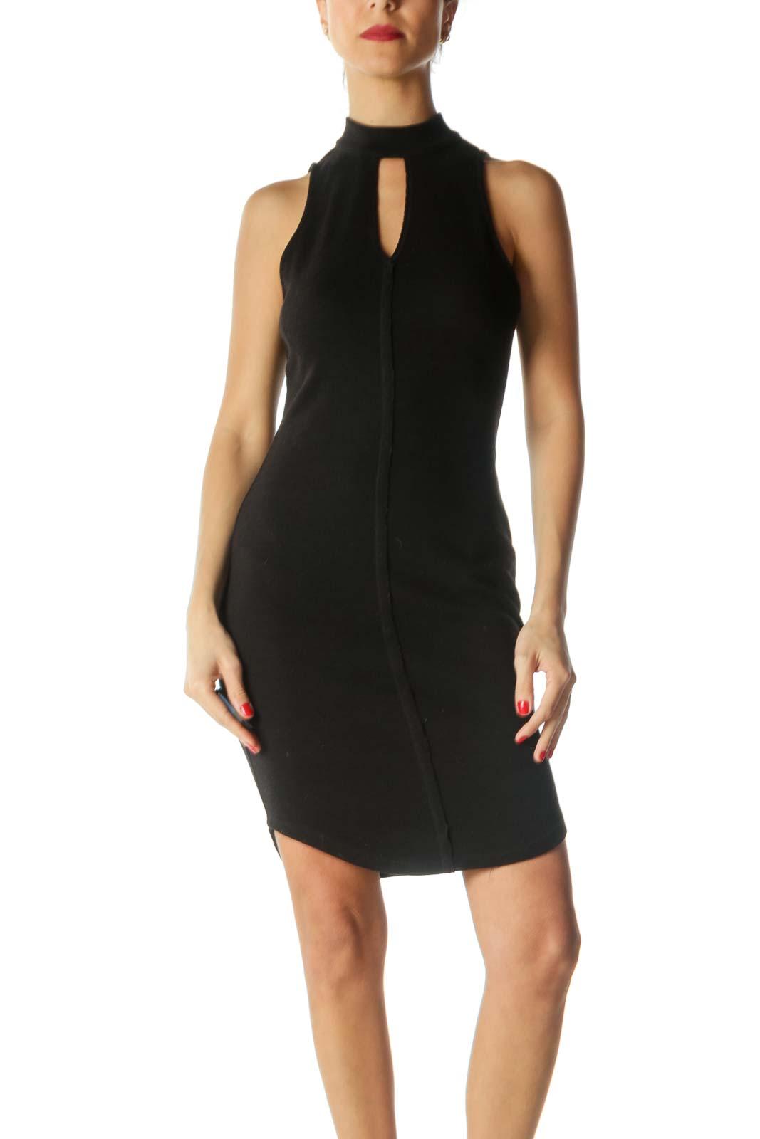 Black V-Neck Slim-Fit Ribbed Dress Front