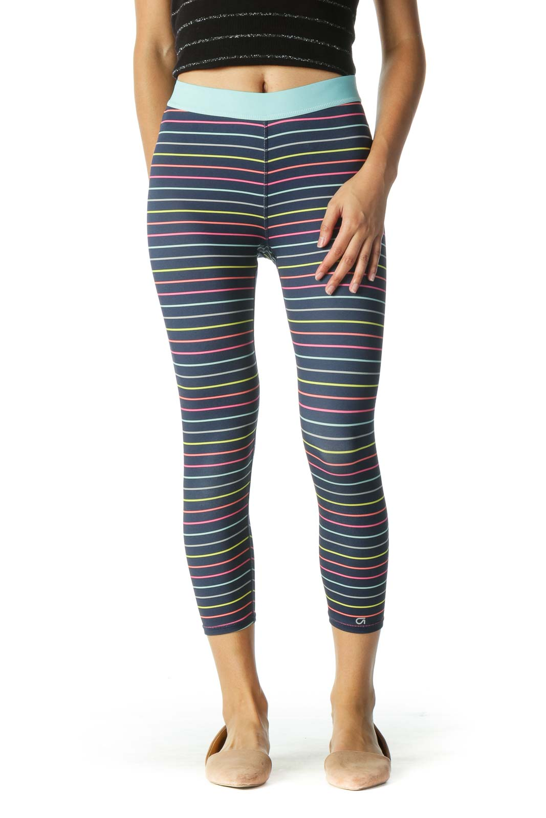 Blue Multicolor Striped Leggings Front
