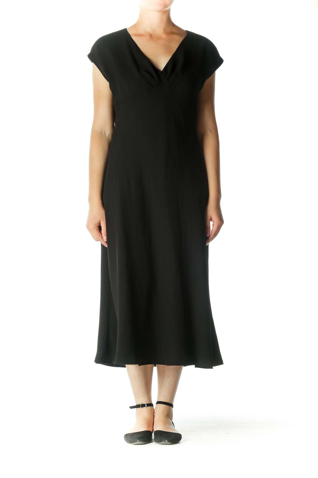 Black V-Neck Cap Sleeves Evening Dress Front