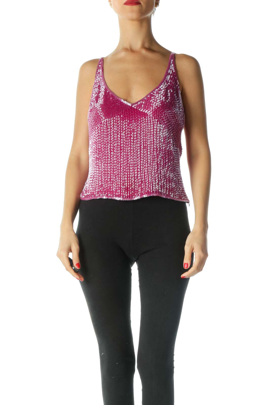 Pink Sequined Cropped Tank Front