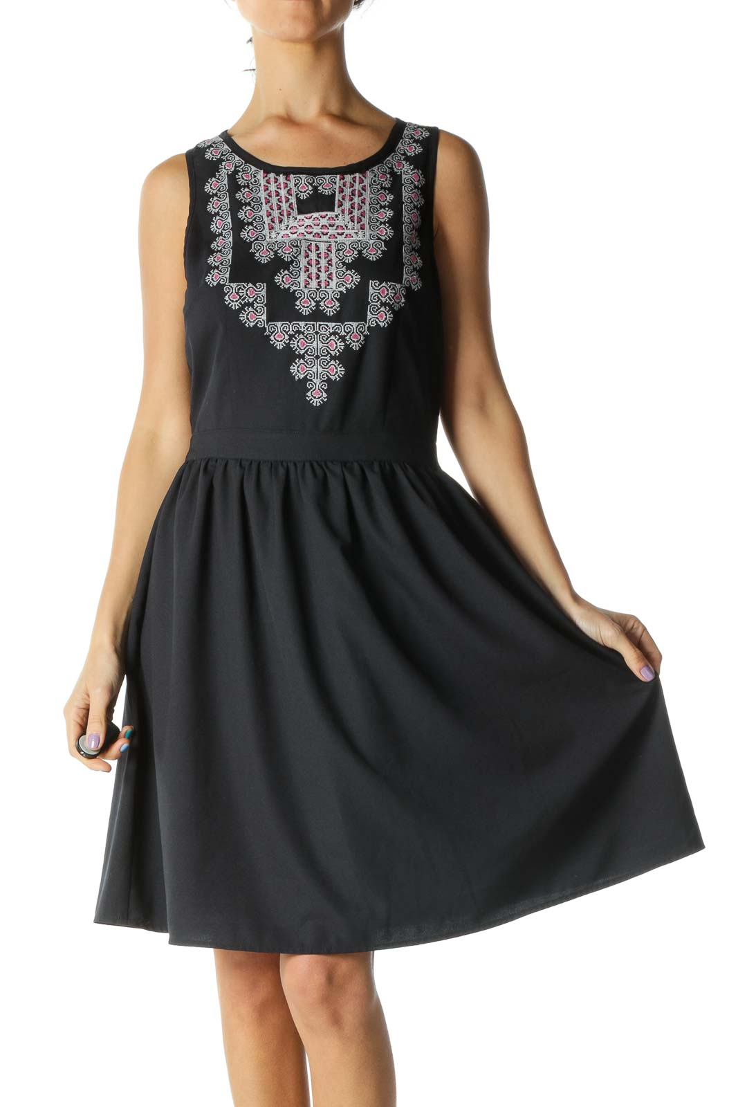 Navy Embroidered Dress Front