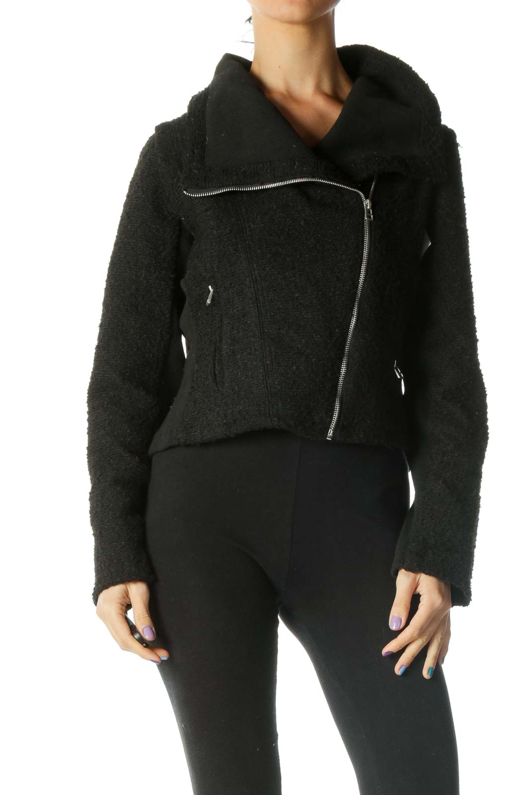 Black Teddy Moto Jacket Front