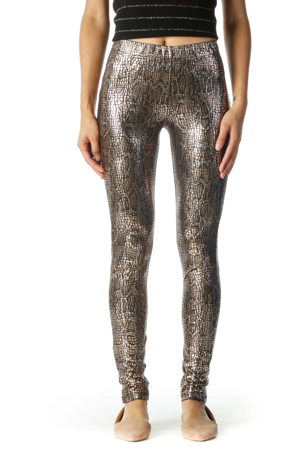 Black and Gold Metallic Print Leggings Front