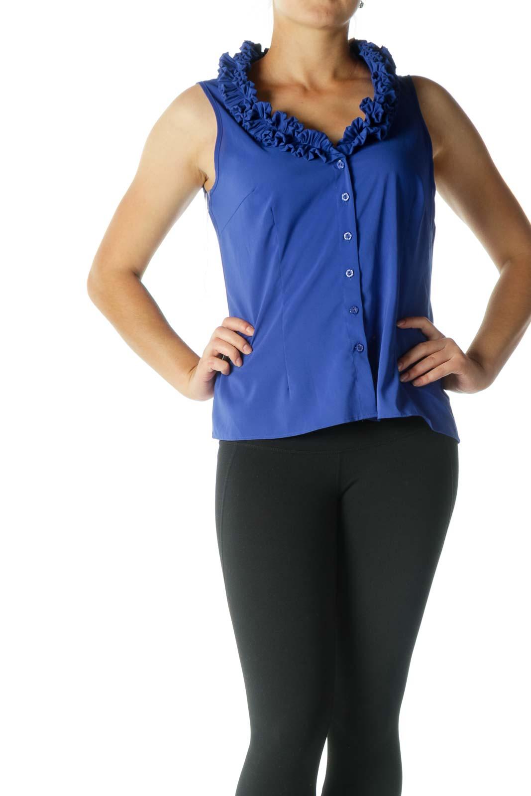 Blue Ruffled Sleeveless Shirt Front