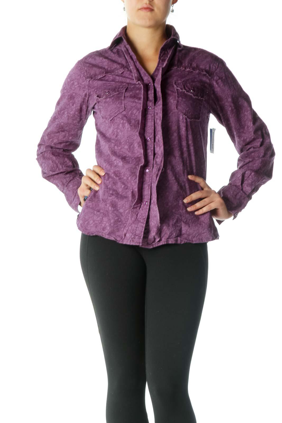 Purple Button-Down Blouse  Front