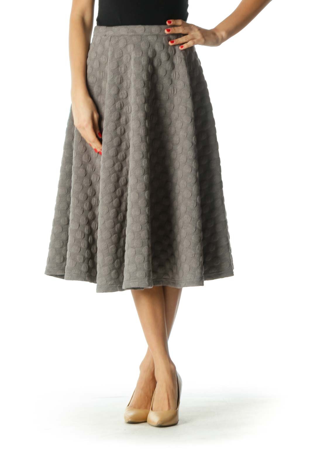Brown Polka-dot A-Line Skirt Front
