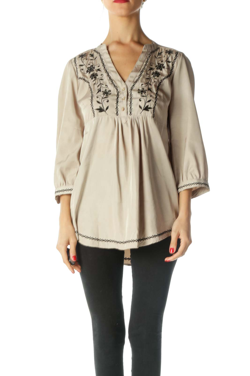 Beige Black Embroidered Shiny Tunic Top Front