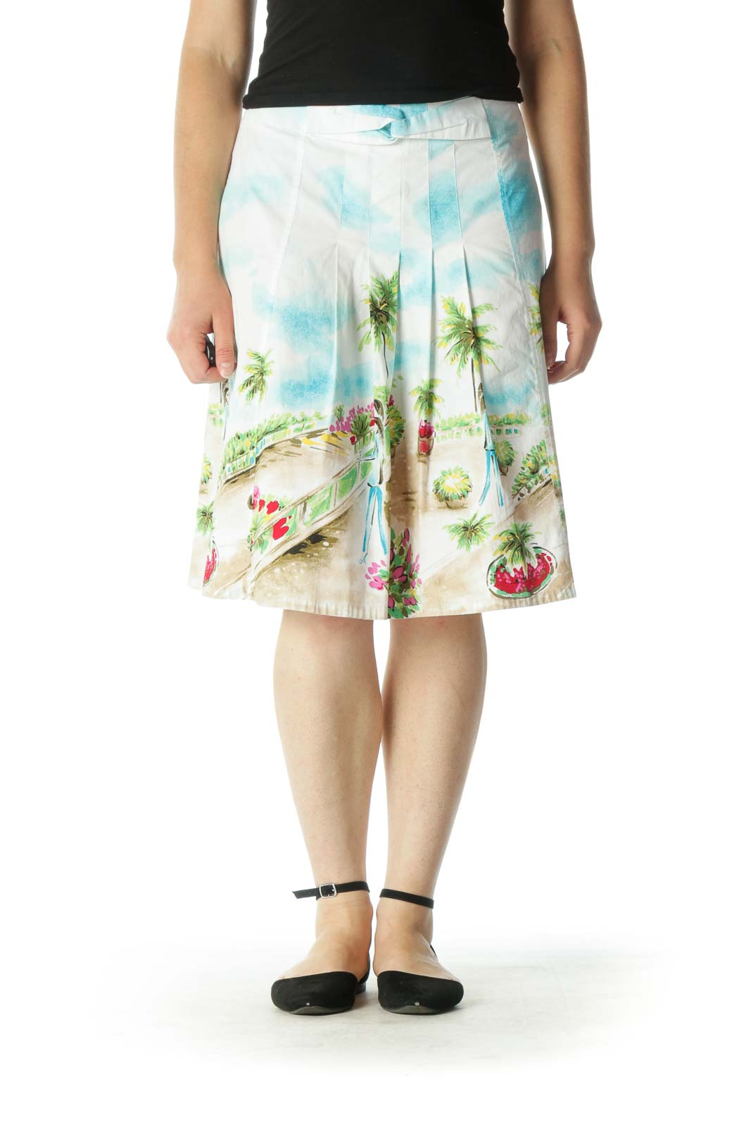 White Multicolor Print A-Line Skirt Front