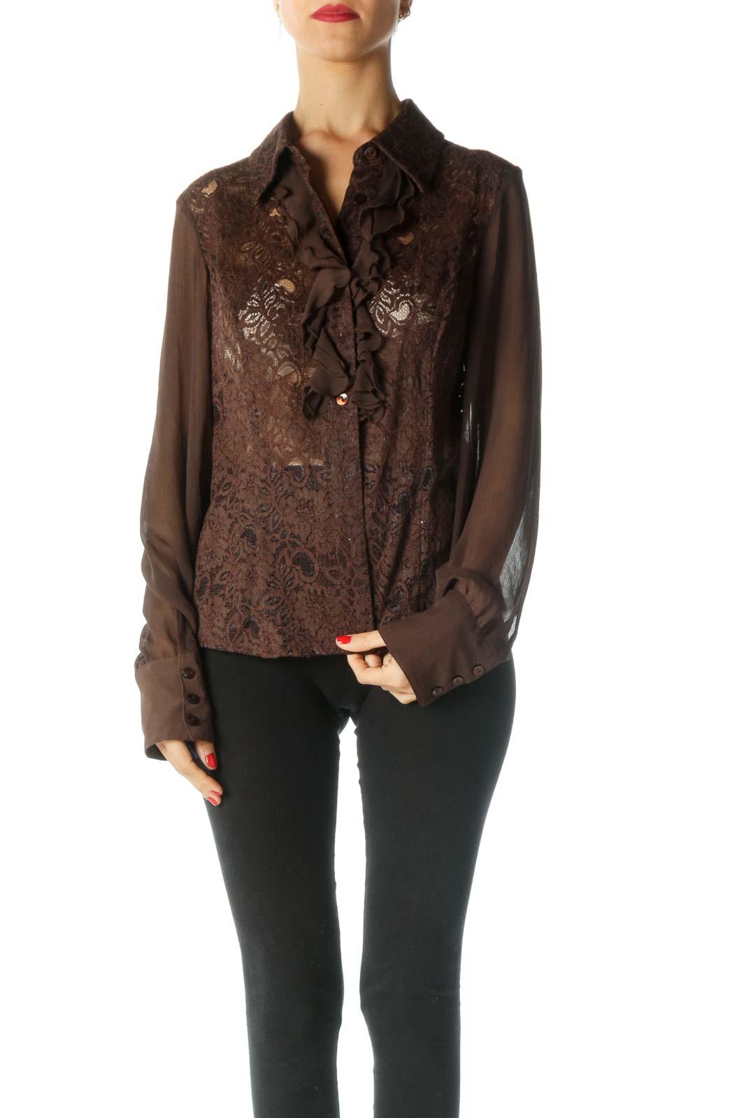 Brown Ruffle Long Sleeve Shirt Front