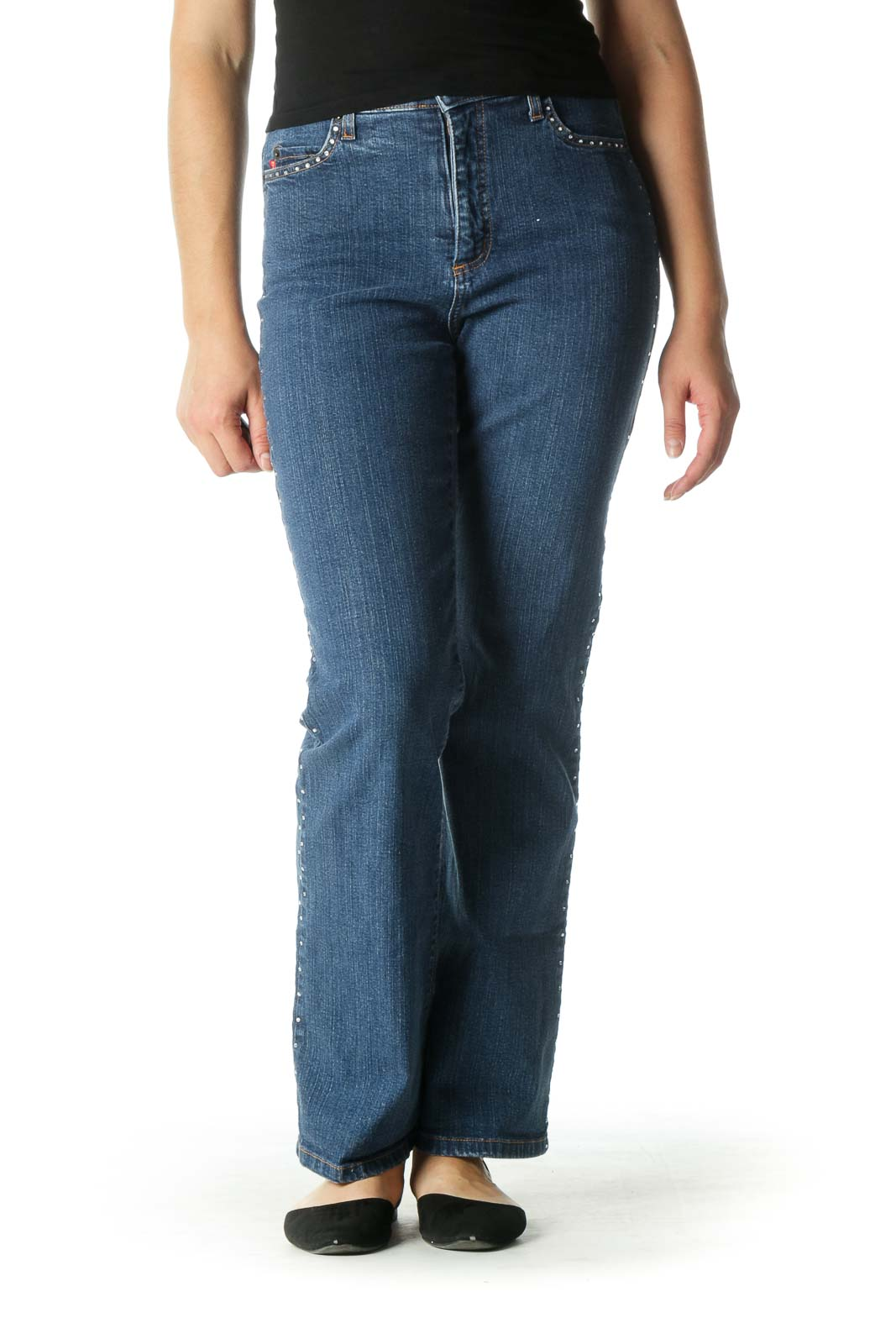 Blue High Waisted Flared Jeans with Rhinestones Front