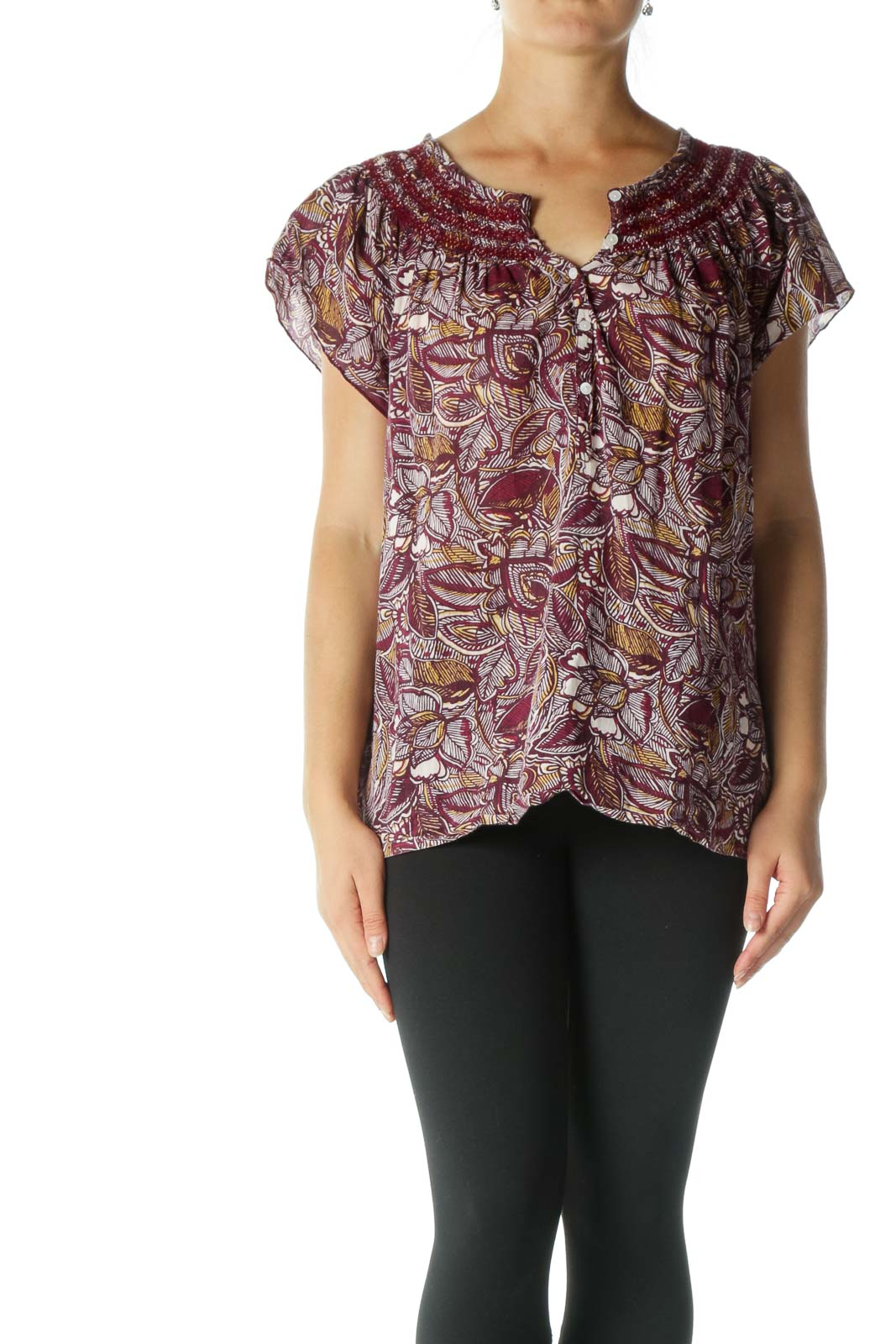 Burgundy and White Print Short Sleeve Tunic Front