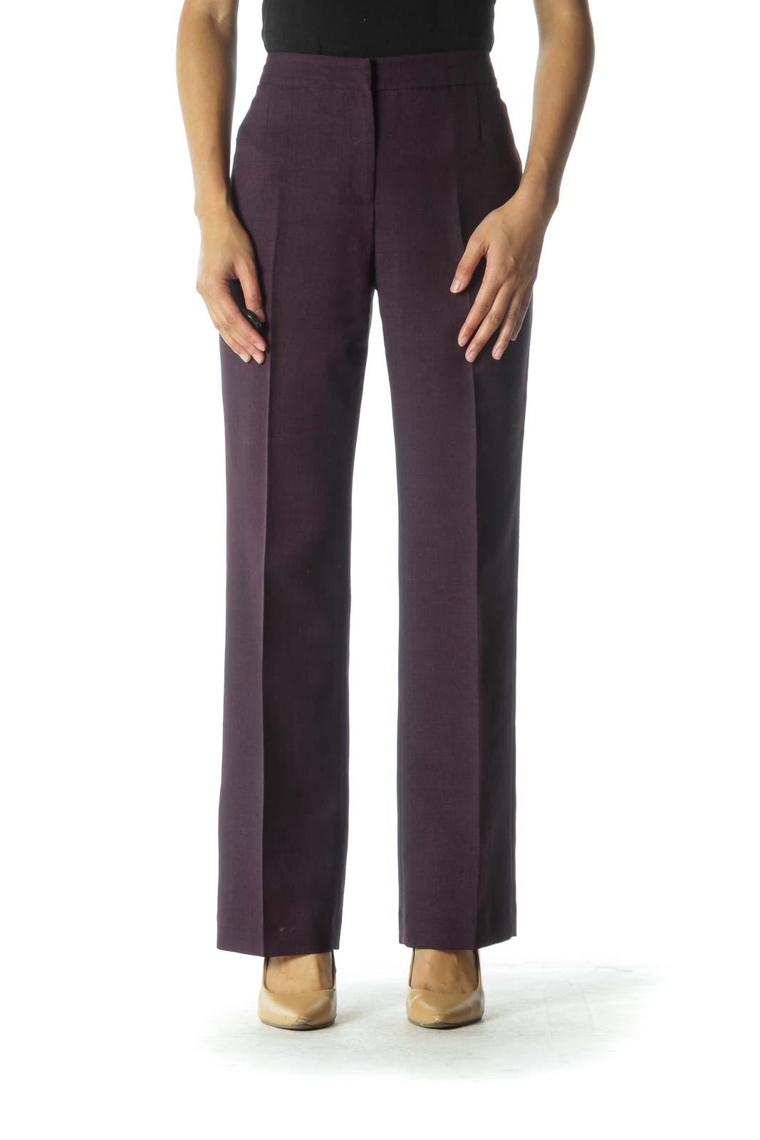 Purple Wide-Leg Pants Front