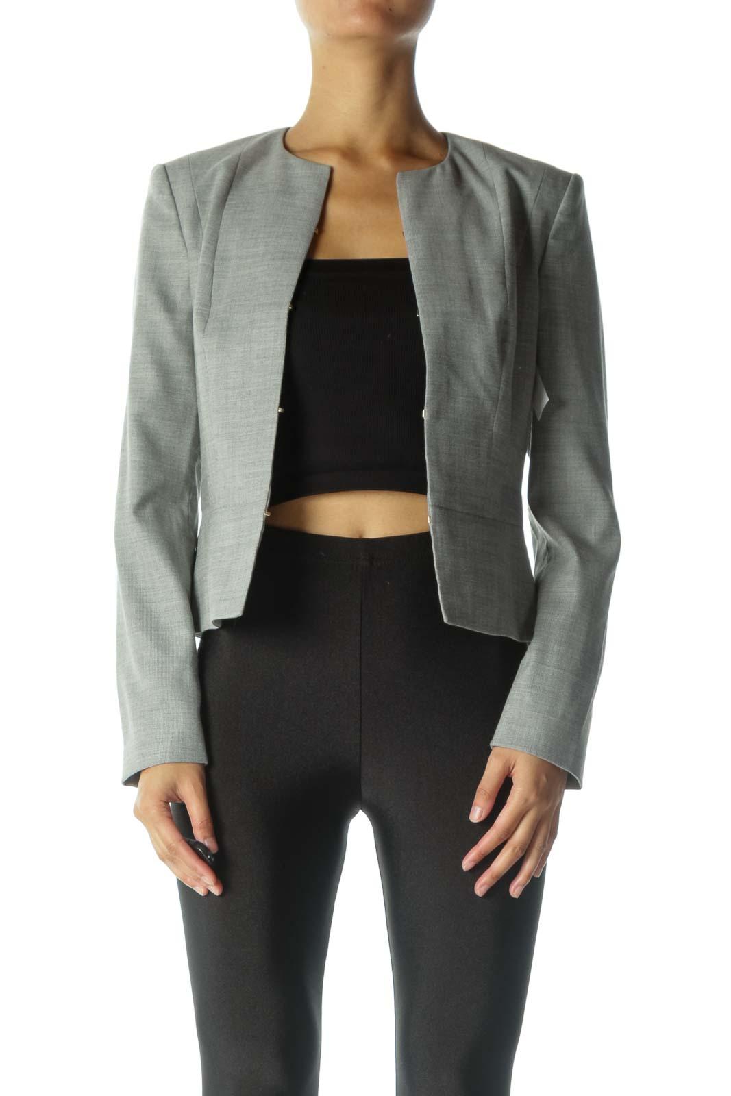 Gray Twill Blazer Front