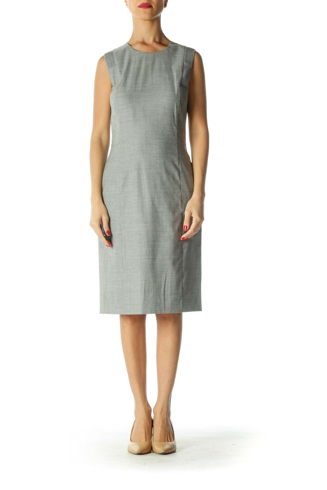 Gray Twill Sheath Dress Front