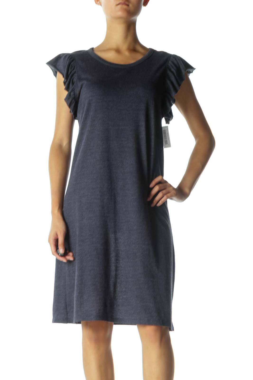 Blue Day Dress with Ruffled Sleeves Front