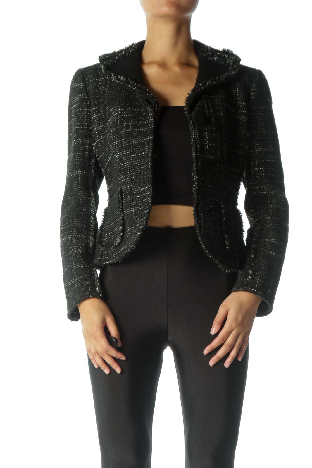 Black and White Knit Blazer Front