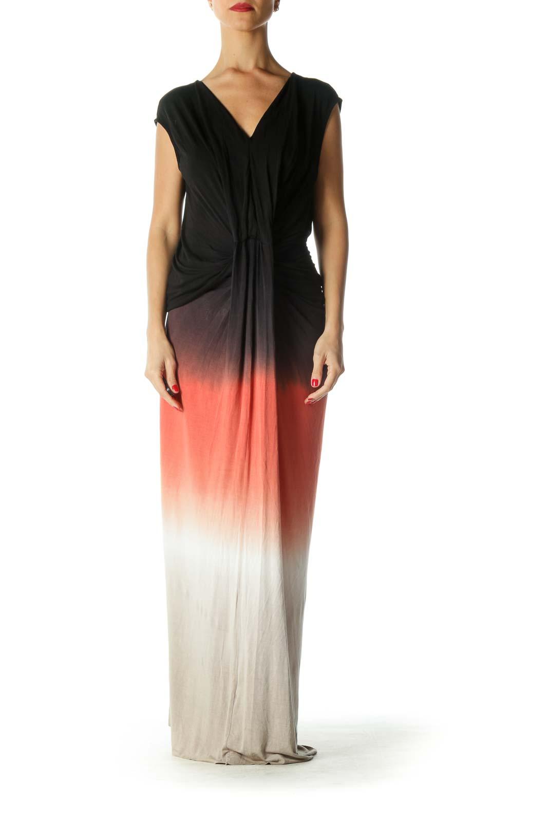 Black Multicolor Ombre Draped Maxi Dress Front