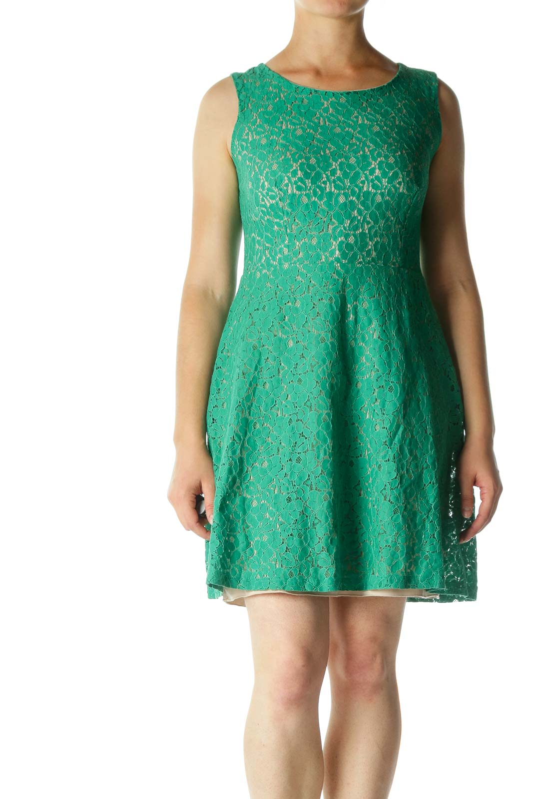 Green Lace Cocktail Dress with Cut-Out Back Front