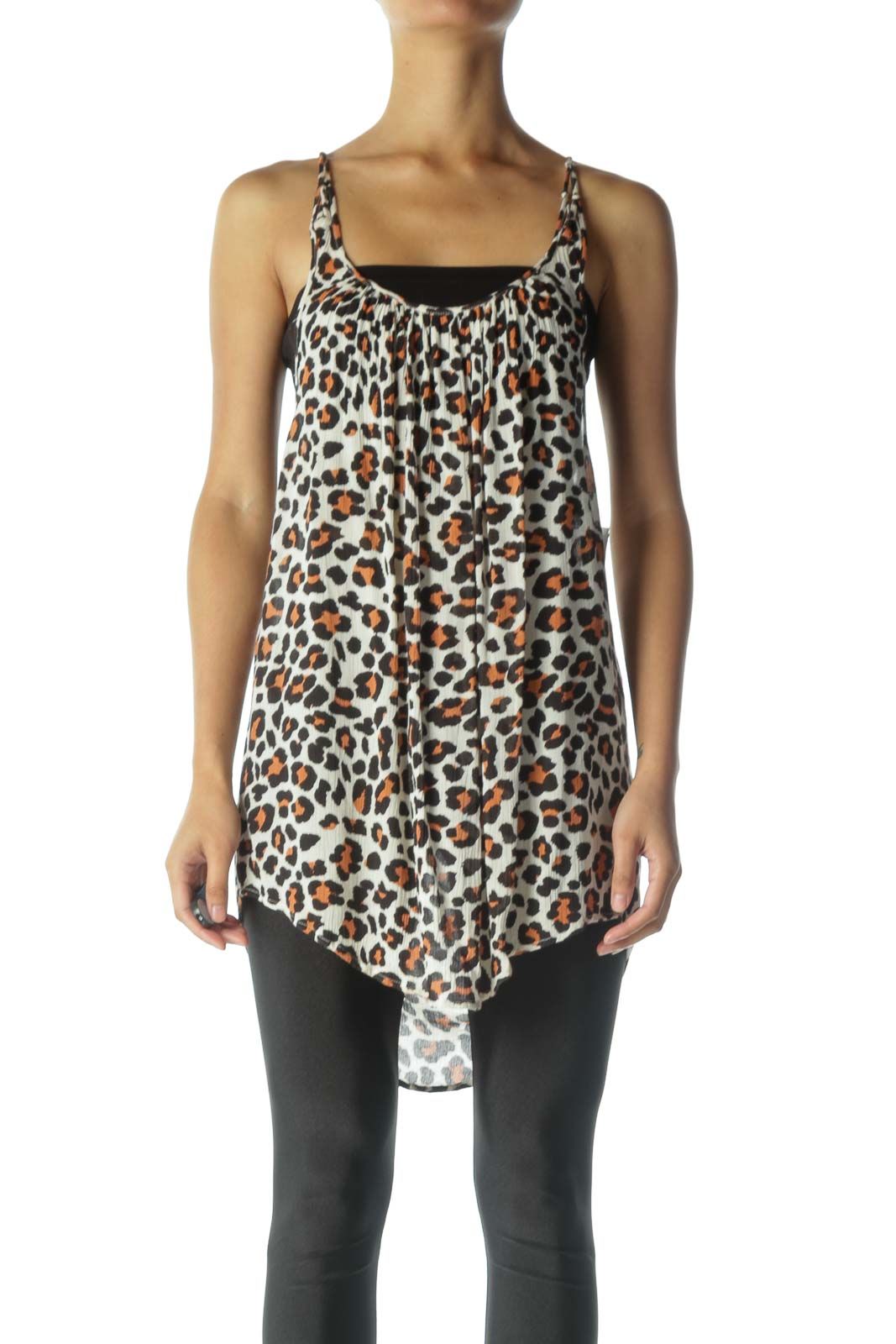 Brown Cheetah Print Tank Top Front