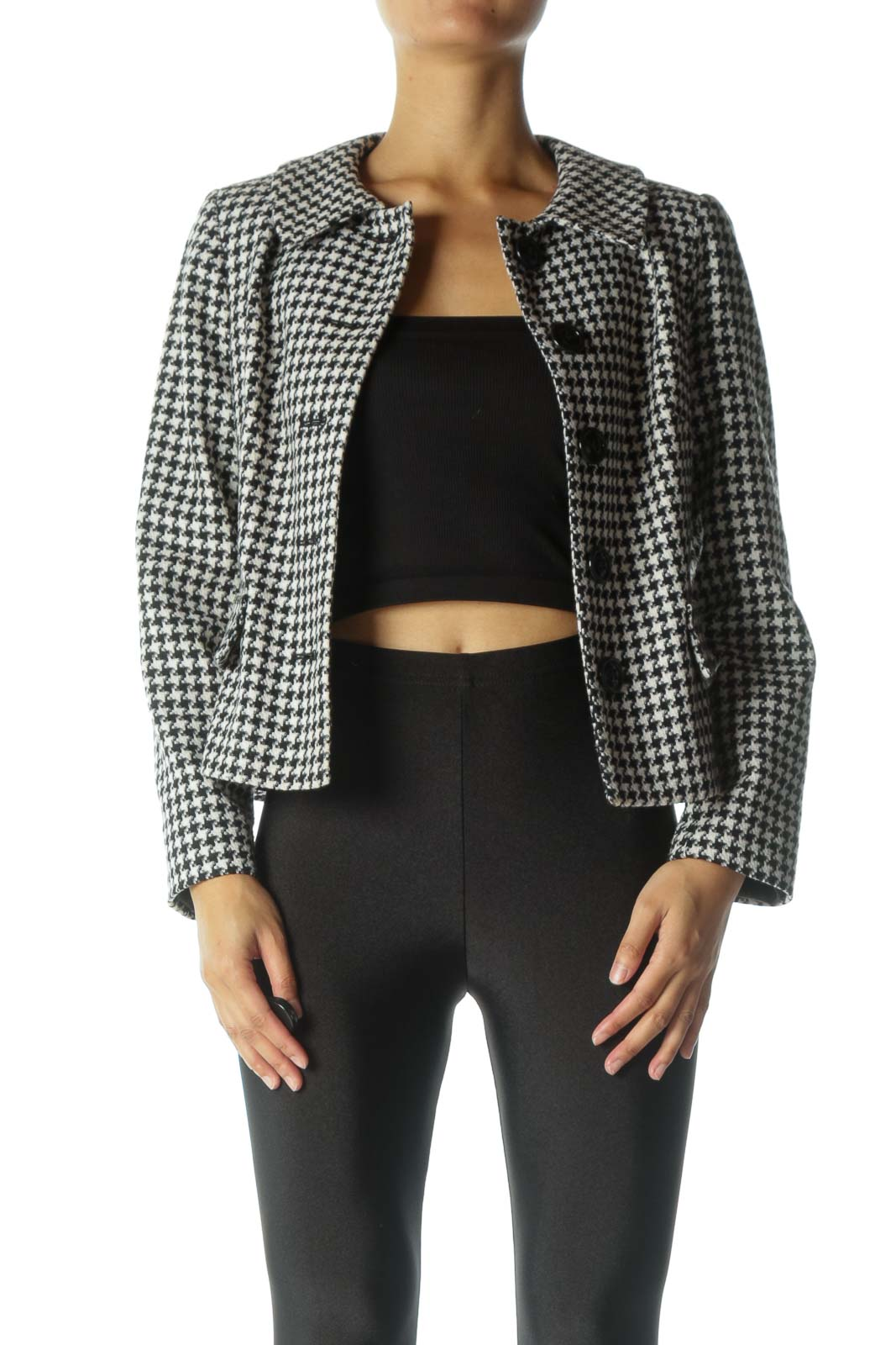 Black and White Tweed Jacket Front