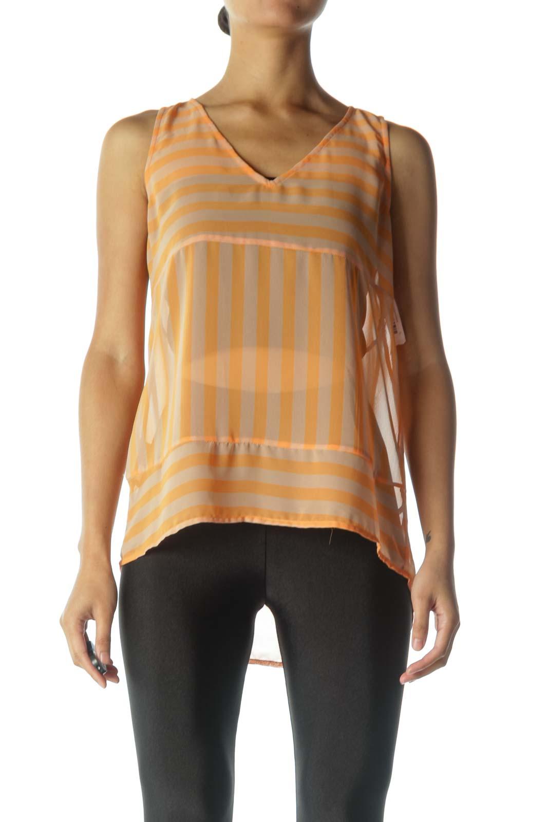 Orange Striped Sheer Tank Top Front
