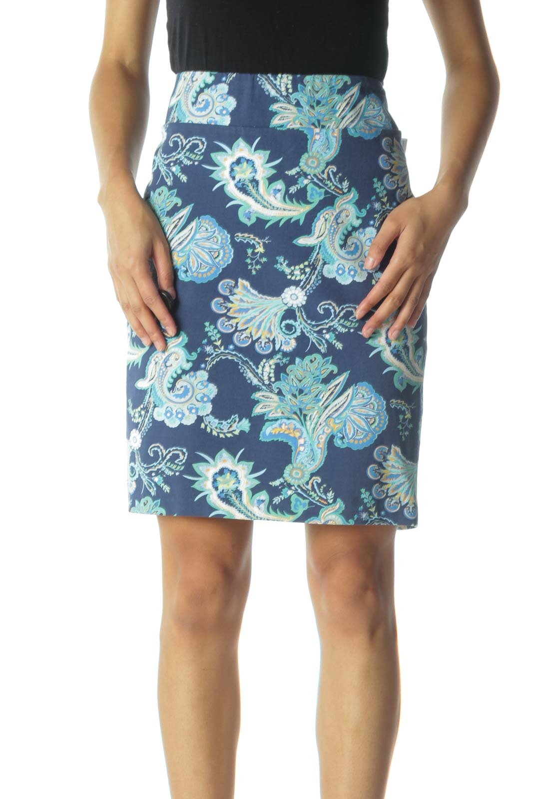 Blue and Green Paisley Print Pencil Skirt  Front