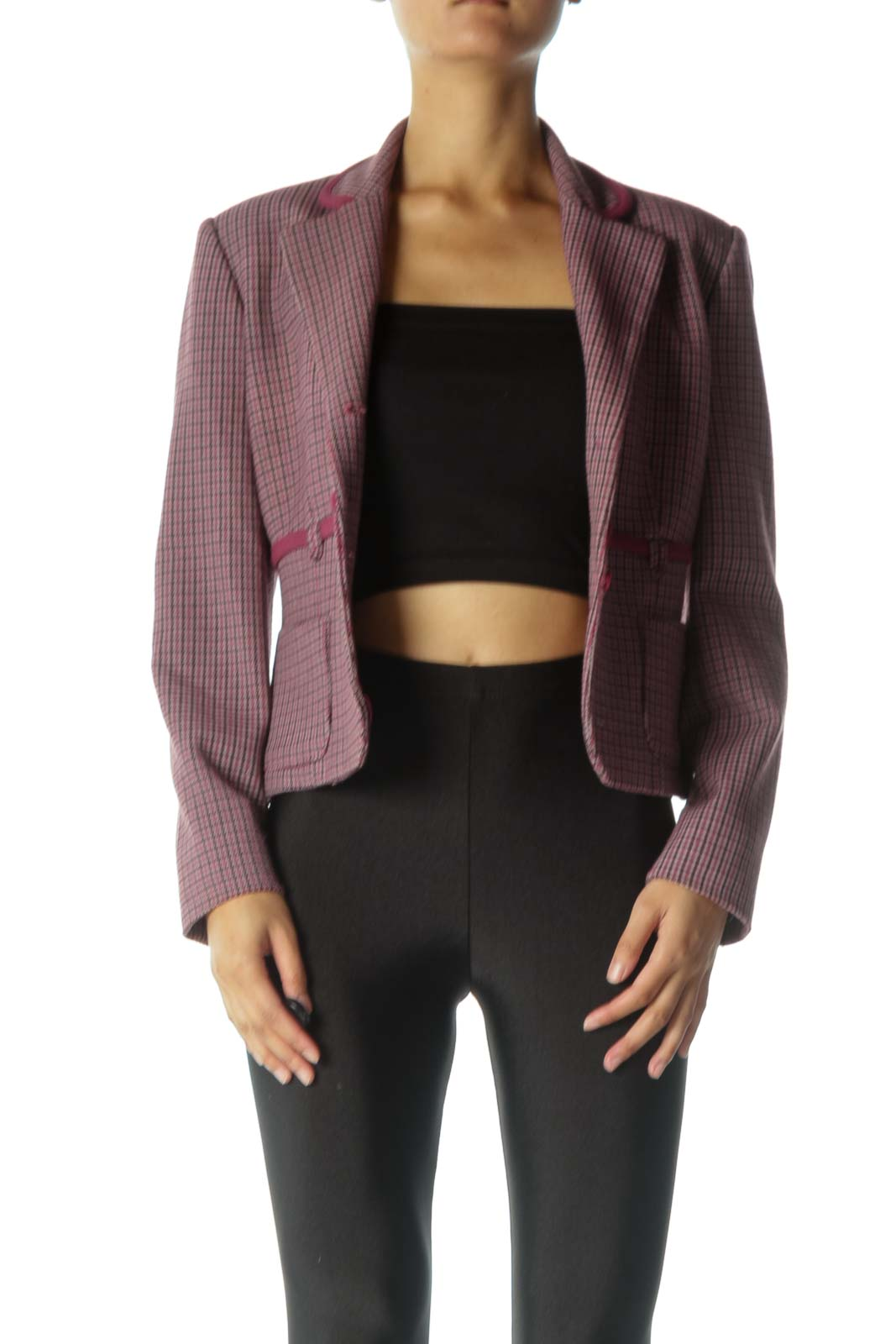 Burgundy Houndstooth Print Suit Jacket Front