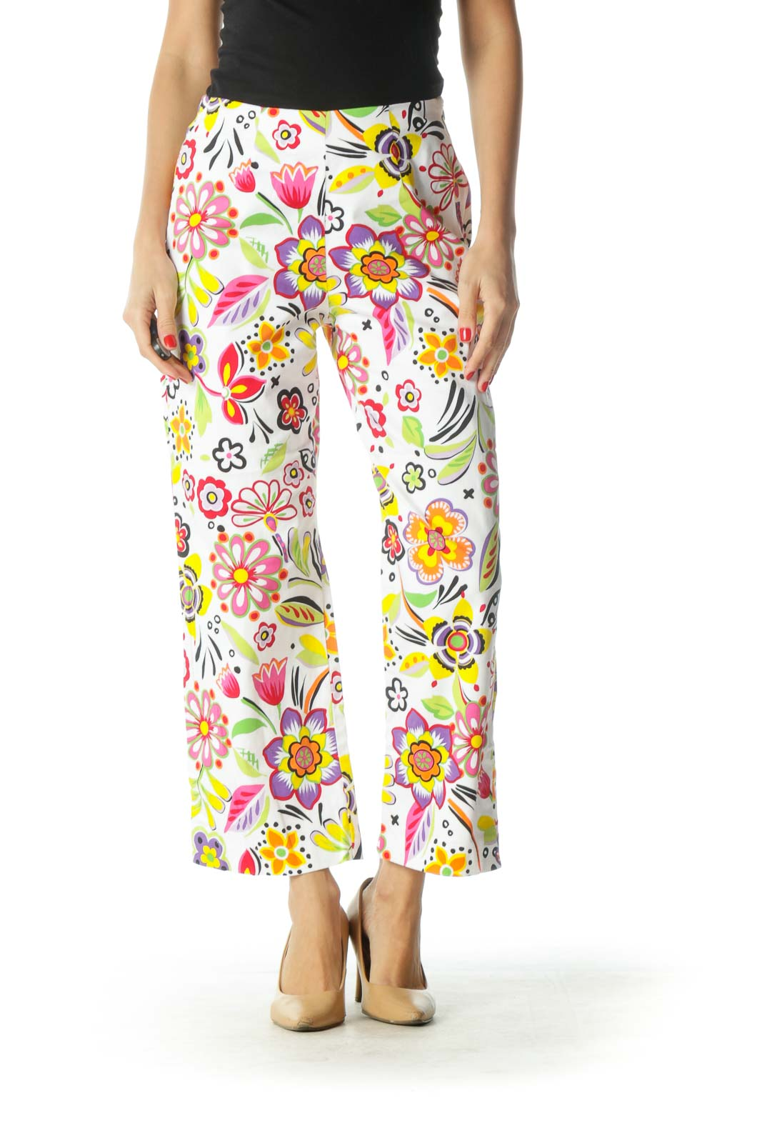 White Multicolor Floral Print Cropped Pants Front