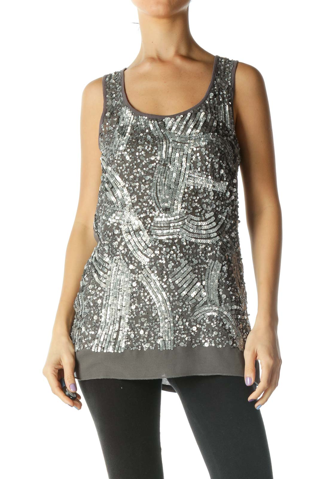 Gray Sequined Tank Front