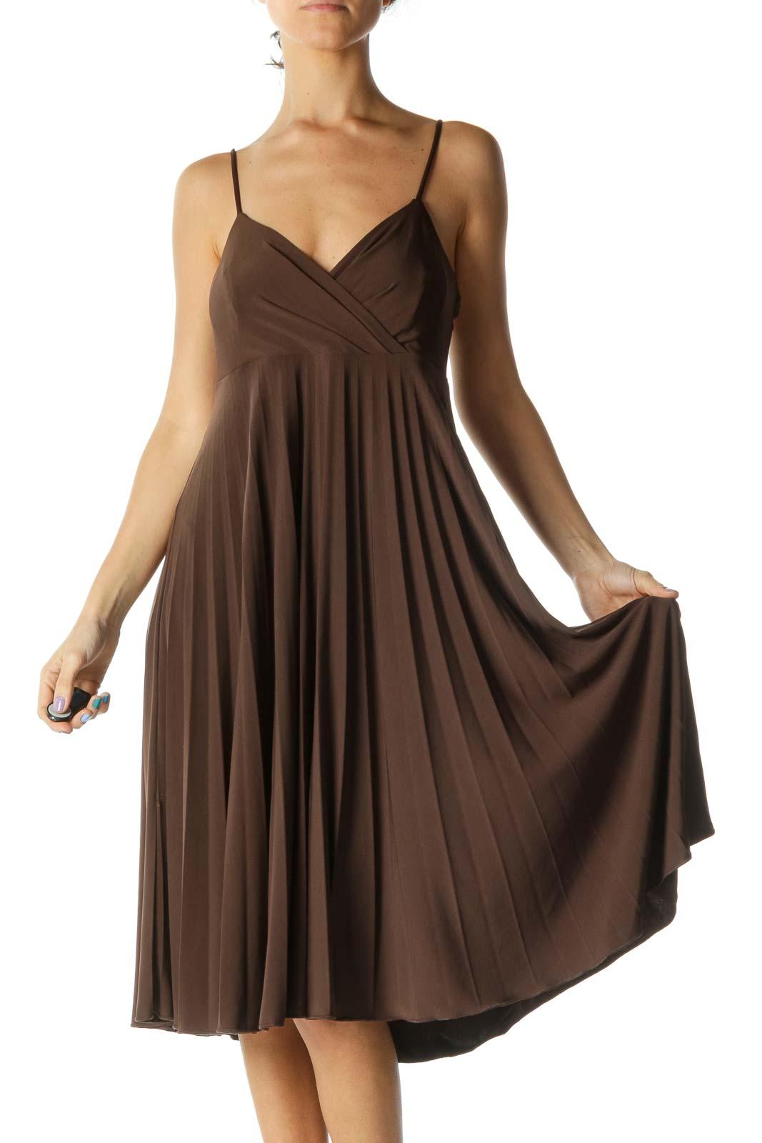 Brown Midi Dress Front