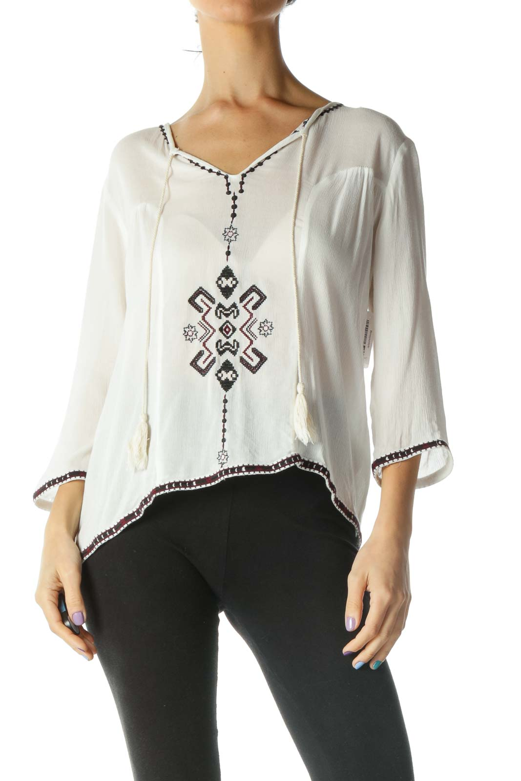 White Embroidered Peasant Top Front