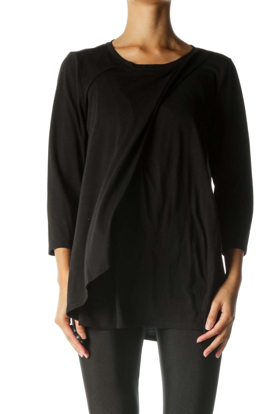 Black Nursing Long Sleeve Shirt Front