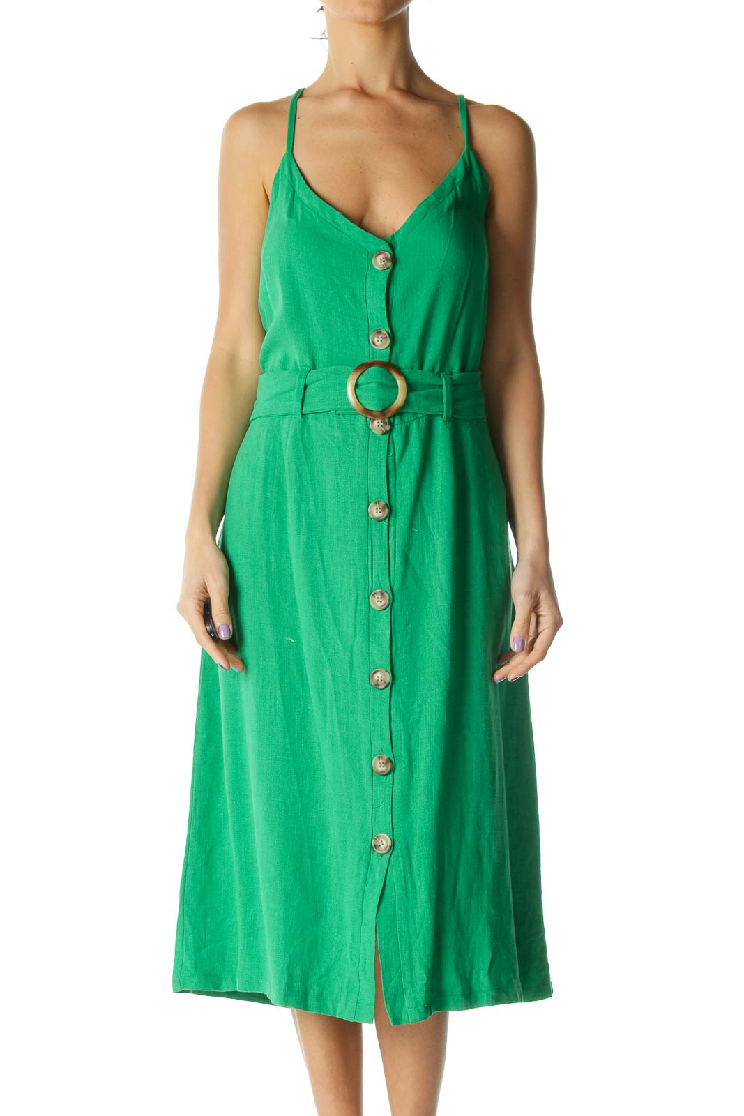 Green Midi Day Dress Front