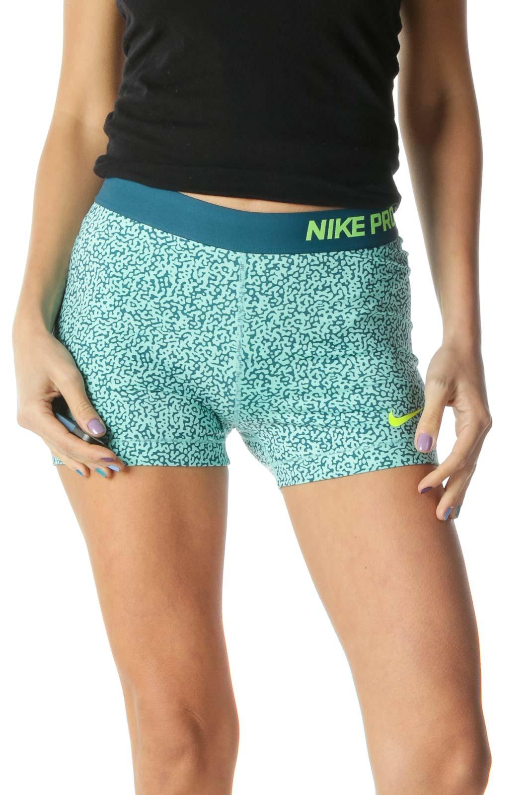 Green Navy Tight Sports Shorts Front