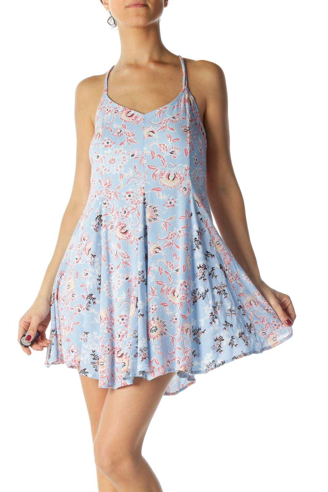Blue and Pink Floral Print Dress Front