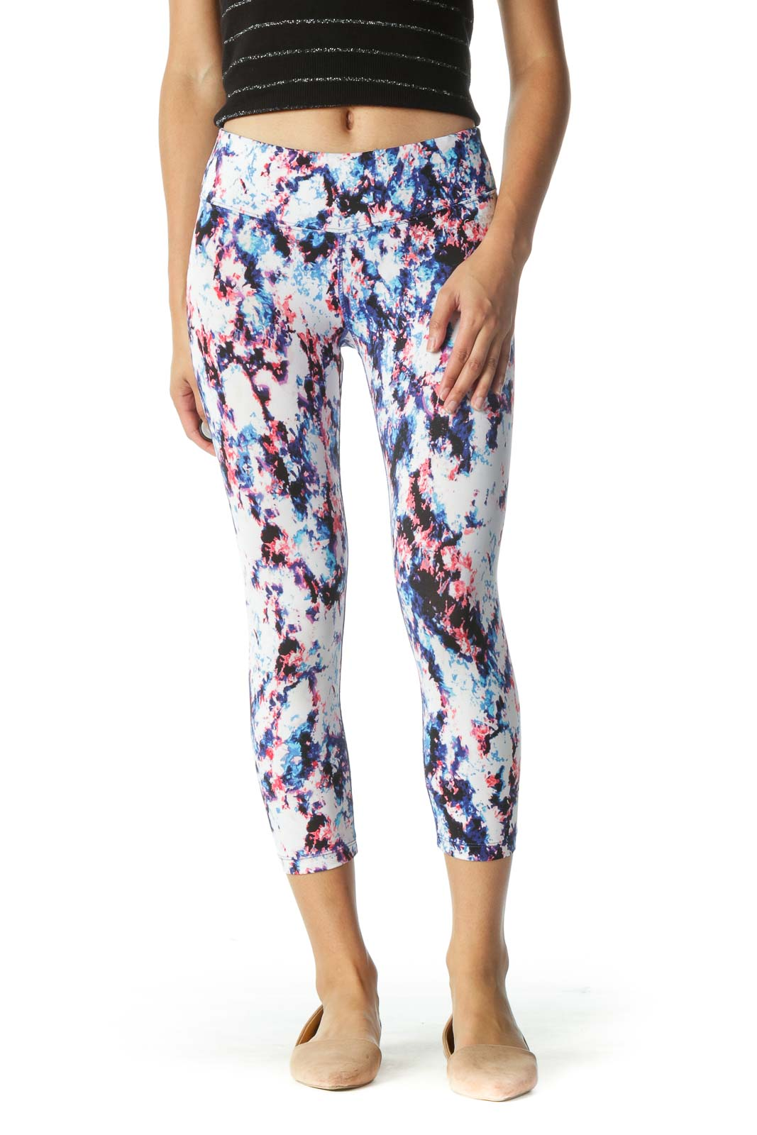 White and Blue Abstract Print Cropped Leggings Front