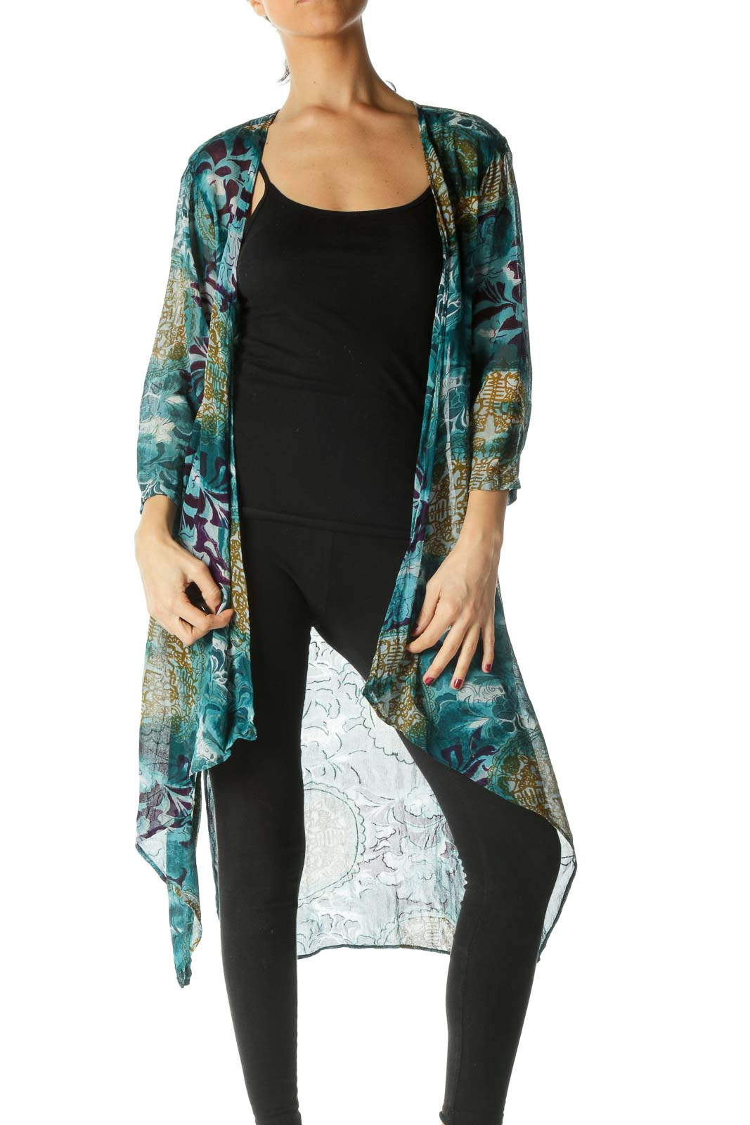 Blue and Green Print Sheer Long Cardigan Front