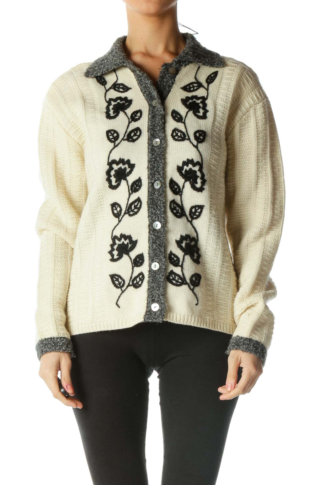 Blue and Cream Floral Print Knit Sweater Front